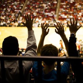 crowd with hands raised at sports game