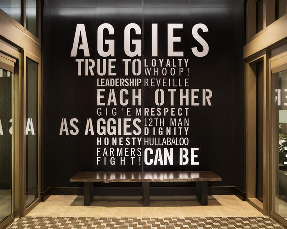 maroon and white word art about aggies