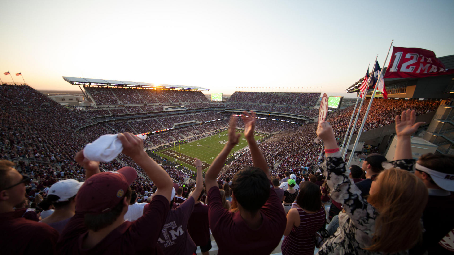 crowd in kyle field before football game