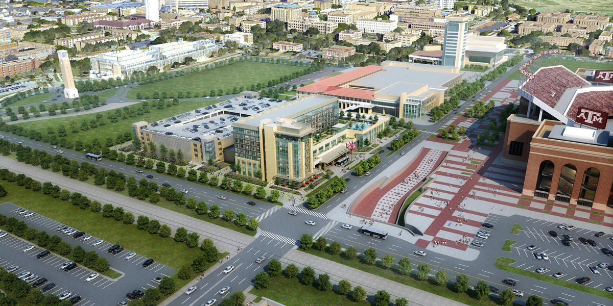 Rendering of the future exterior of the Texas A & M Hotel and Conference Center